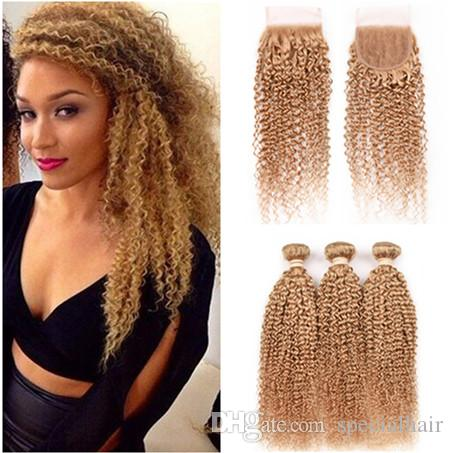 Kinky Curly #27 Honey Blonde Brazilian Virgin Human Hair 3Bundles with Closure Light Brown 4x4 Front Lace Closure with Weaves 4Pcs Lot
