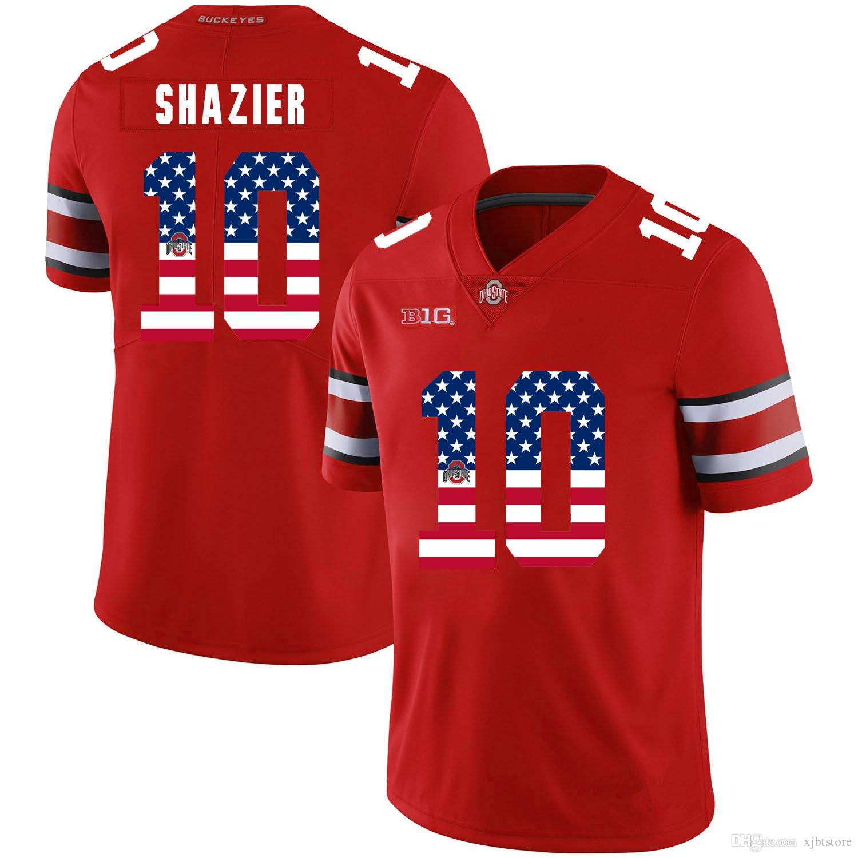 Justin Fields Stitched Men's Ohio State Buckeyes Chris Kuhn Robert Landers USA Flag College Football Jersey