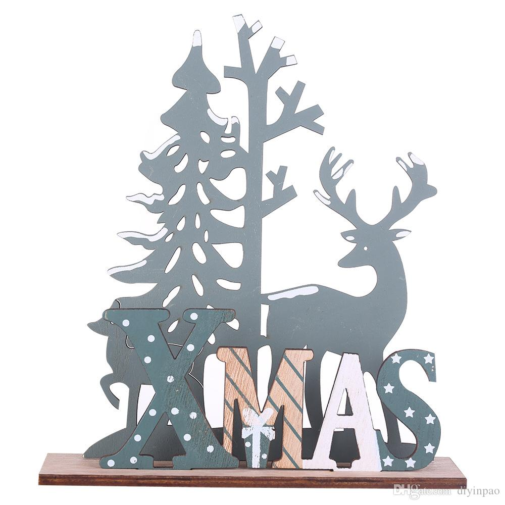 2020 New Year Natural Xmas Elk Wood Craft Christmas Tree Ornament Noel Christmas Decoration for Home Wooden Pendant Navidad Gift