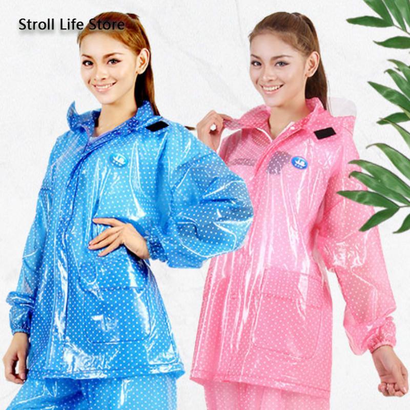 2021 Motorcycle Raincoat Suit, Pink Plastic Trench Coat