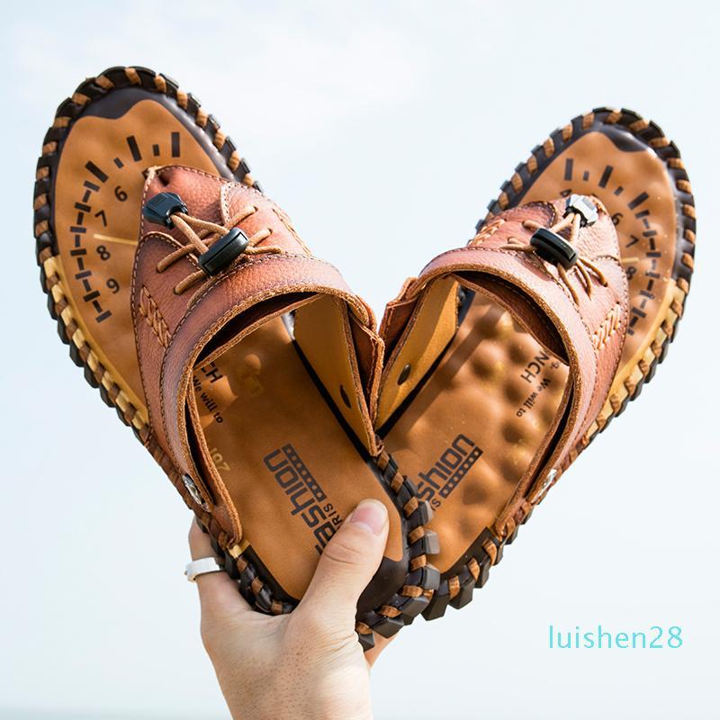 En cuir véritable Nu-pieds Slip Toe Men Fashion Casual Chaussures Hommes Hommes Pantoufles Roman Summer Beach Sandales Taille Plus 38-48 L28