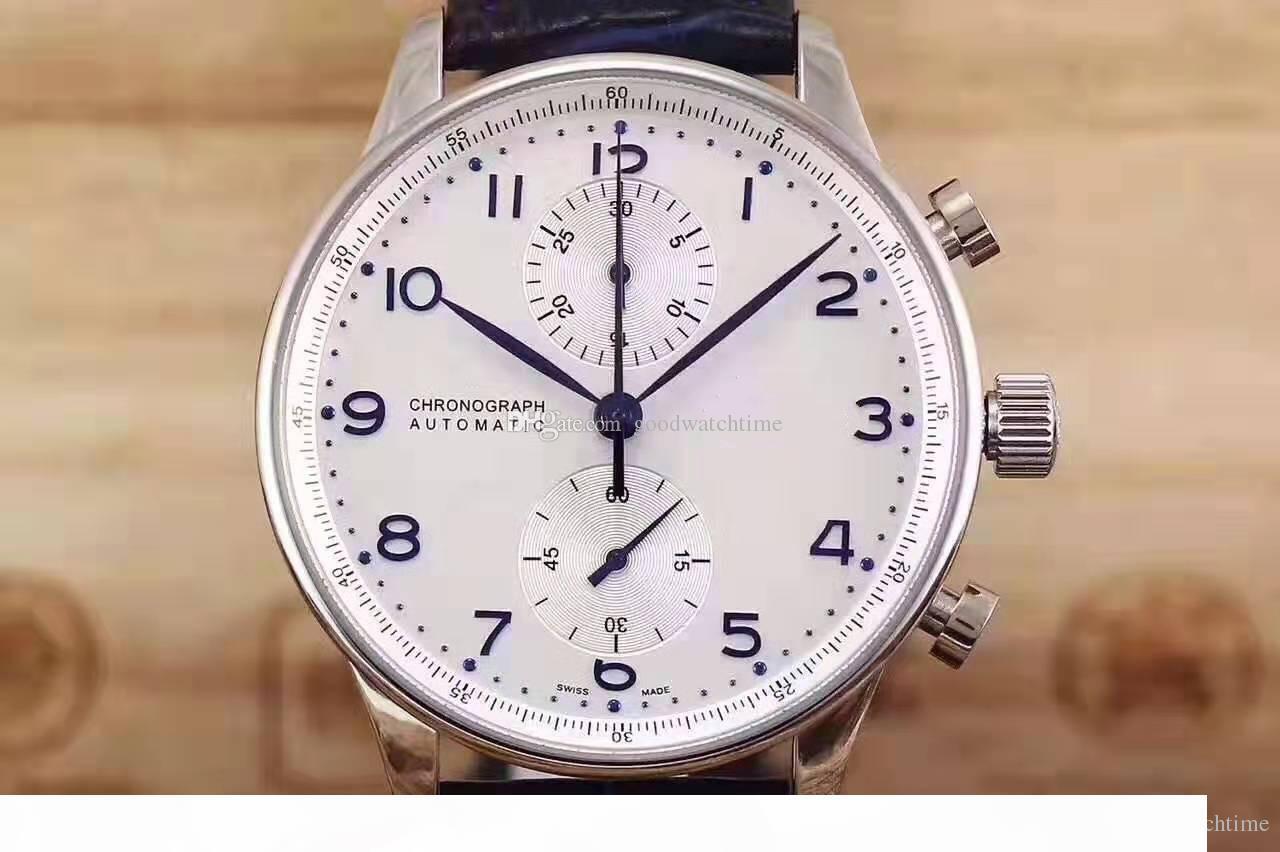 Novas mens luxo assistir IW 371.446 Portugal série 7 piloto mecânico militar automática Relógios de pulso multi-functiona relógios desportivos de qualidade