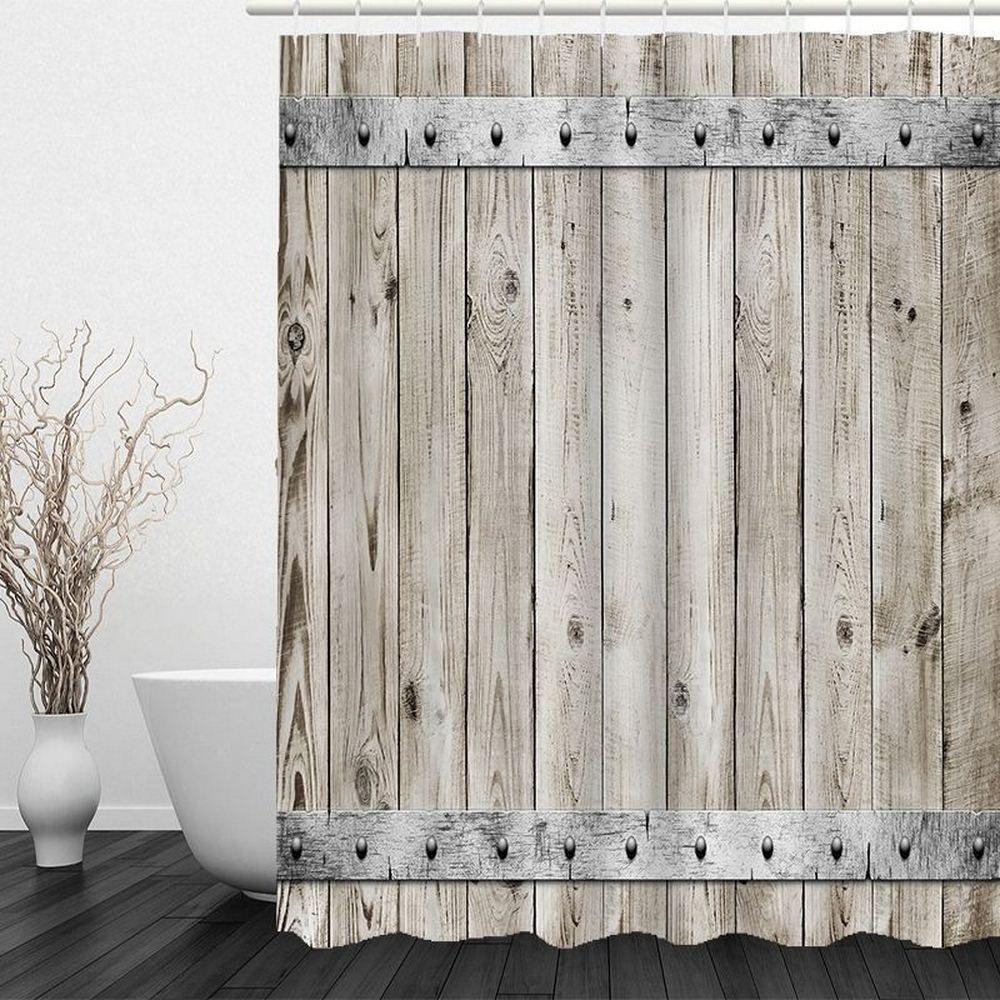 Madeira cortina de chuveiro 200X200 Mat decorativa Vintage poliéster impermeável Tecido Banho Cortina Set Início Bath Decor Multi-tamanho