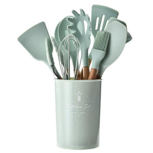 أدوات طبخ سيليكون أدوات المطبخ مجموعة مع مقبض خشبي ملعقة غير عصا مغرفة ملعقة ملقط utensilios دي كوكينا كيتشنتول