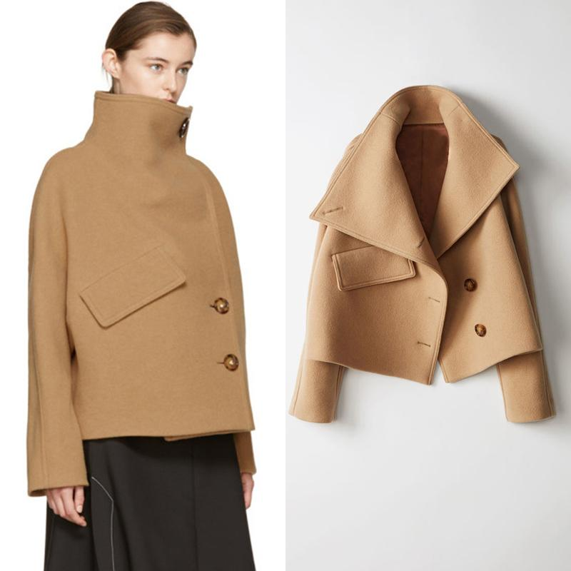 New 2019 Fashion Women Autumn Winter Jacket Batwing Sleeve Woolen Warm High Neck Overcoat Female Loose Cape Coat kz007
