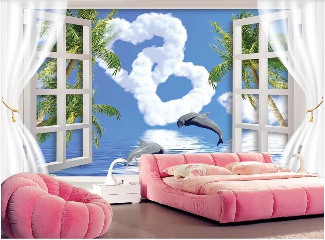 Les photos murales personnalisées 3d papier peint amour romantique vue de la fenêtre 3D de dauphins art mur décoration murale fond TV baie images