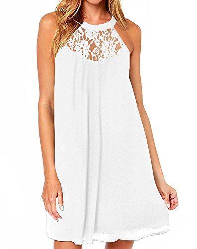 DREAGAL Женское кружево без рукавов Лоскутное Свободное повседневное мини-шифоновое платье