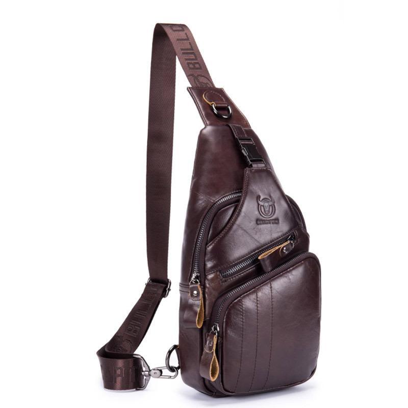 Erkekler Boş Deri Bir Omuz Crossbody Deri çanta Seyahat moda Çapraz Vücut Göğüs çantaları Erkekler Çapraz Vücut Askılı çanta