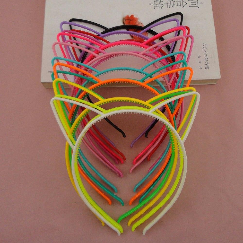 10PCS 6mm Assorted Colors Cat Ears Shape plastic hair headbands with small teeth,Sweet Princess hairbands,kids hair accessories