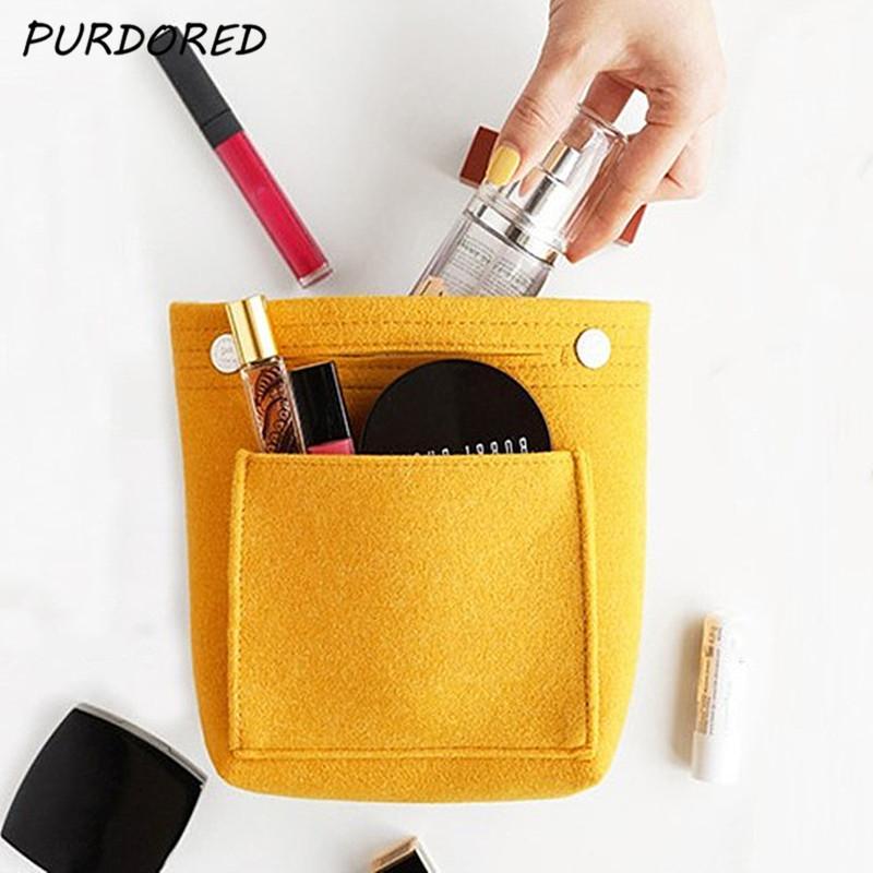 PURDORED 1 ПК Solid Color Cosmetic Bag большой емкости для макияжа кошелек для путешествий Войлок сумка Организатор Handy сумка В Cosmetiquera