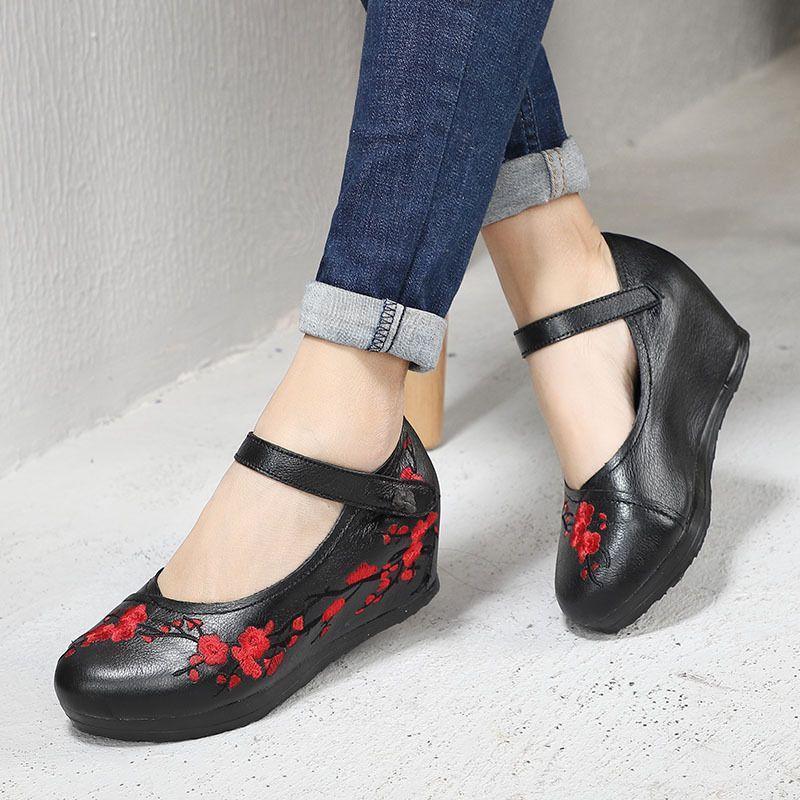 Habilidad2019 Antiguo retorno Año Nacionalidad de Xia Viento dentro de aumento Flor de cuero genuino de las mujeres Una palabra Trae zapatos individuales cómodos