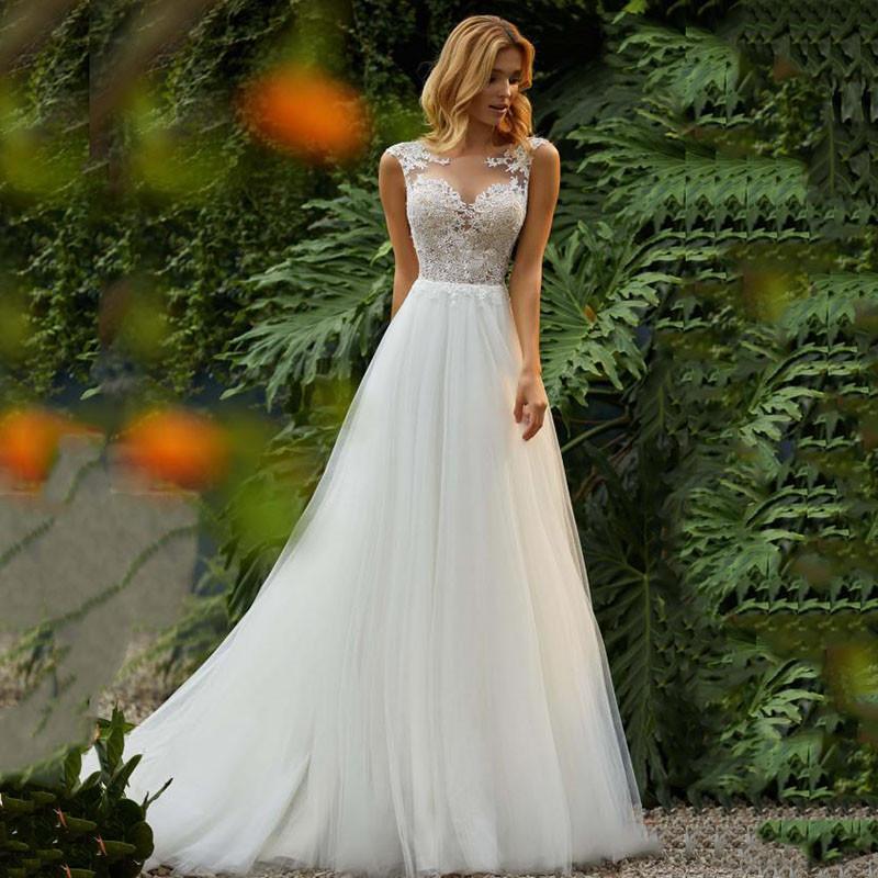 Robes de mariée de mariée fabuleuse Col à scoop Robe de mariée Dentelle Appliques Tulle Femmes Robe de mariée Sans manches Printemps Personnalisé Vestidios de Maariee