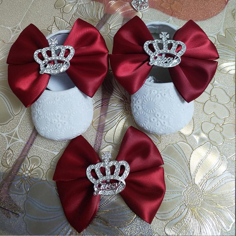 Custom Sparkle bow princess rhinestone baby Shoes baby toddler bling First Walkers girl shoes Noble wine red hairband
