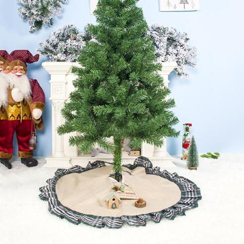 Arbre de Noël Jupes bowknot Patchwork Accueil Tapis rouge Treillis lin Ornement Festival de fournitures Décoration 100 * 100cm LXL497Q