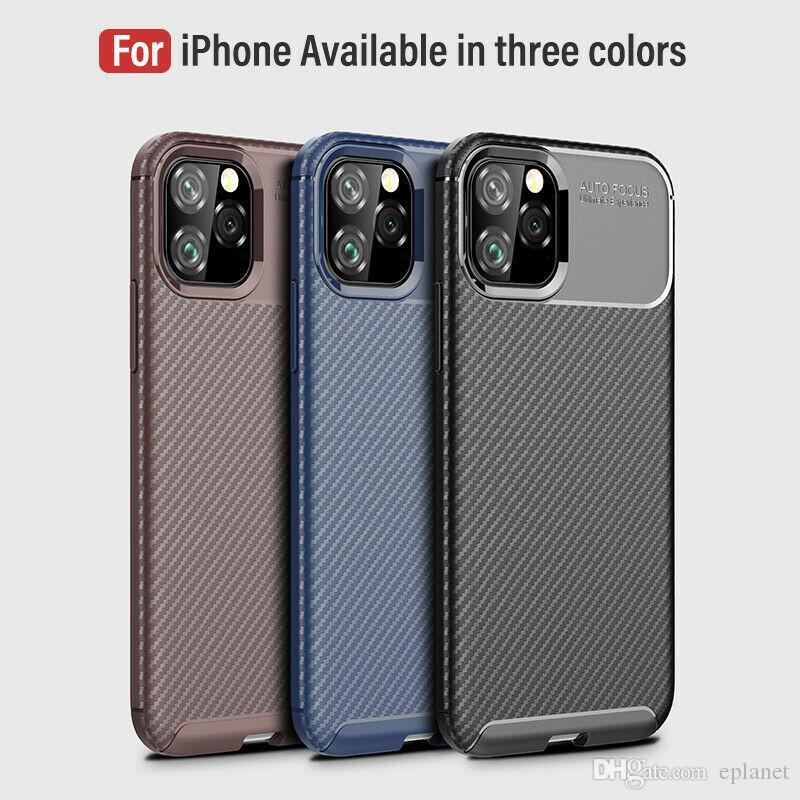 لمدة 11 فون برو ماكس 11 هاتف فاخر لينة سليم من ألياف الكربون المطاط الغطاء عن اي فون 7 8