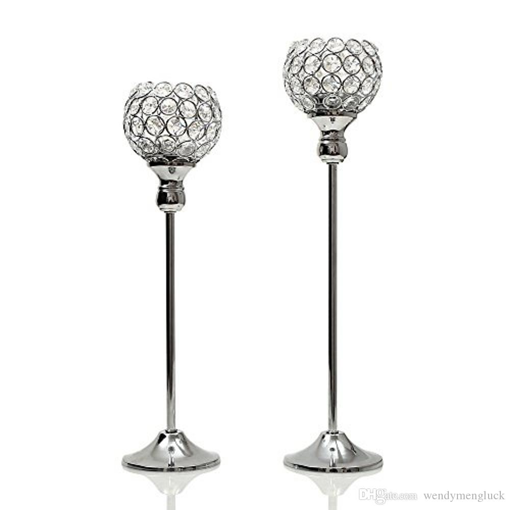 40 & 45cm Tall Silver Crystal Candle Holders/ Metal Candlestick / Candelabra/Tealight Candle Stand for Wedding Father's Day Home Decoration