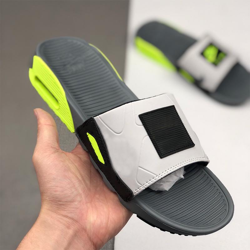 새로운 90 슬라이드 연기 회색 볼트 블랙 화이트 슬리퍼 캐주얼 신발 남성 비치 샌들 40-45 슬리퍼 회색 남성의 90 년대를 플립 플롭 스포츠 쿨