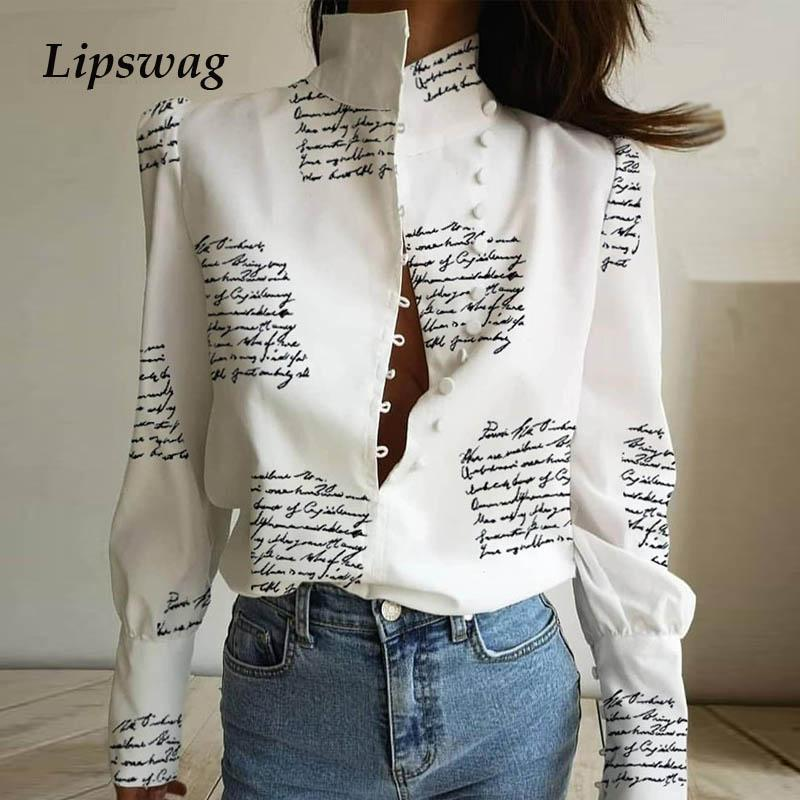 Office Lady Stand Neck Buttoned blouse Shirt Women Letter Print puff Long Sleeve Blouses Elegant Casual Button Blusa Tops