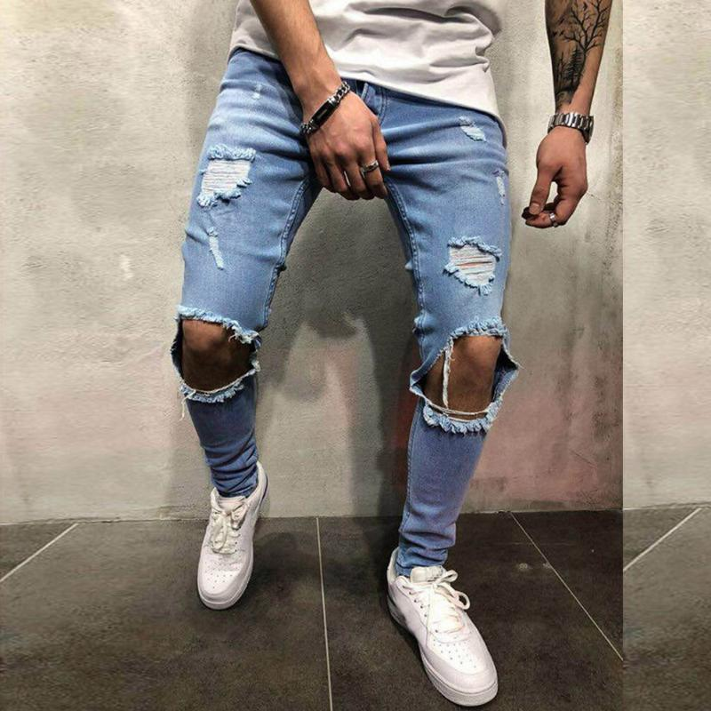 Jogging pantaloni per gli uomini Mens Skinny Stretch denim pantaloni Distressed Strappato Freyed slim fit jeans pantaloni da uomo pantaloni Outdoor