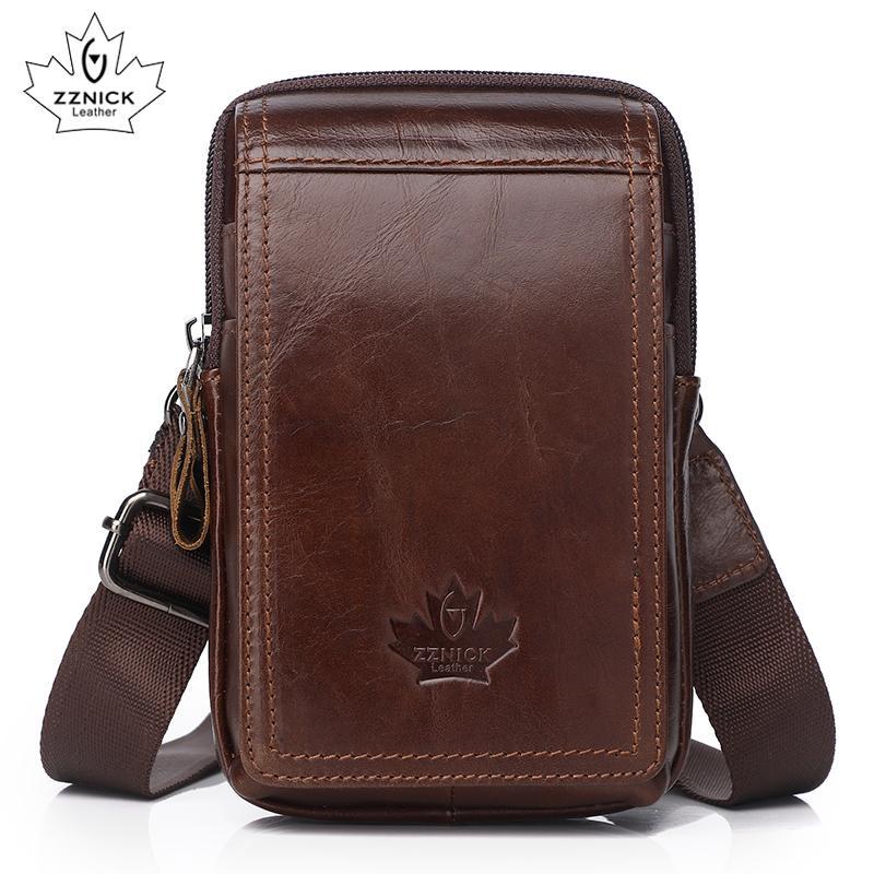 Bolsa de cinturón diagonal genuino Pequeño Teléfono Cruz ZZNICK Bolsos Bolsas Bolsas Bolsa de hombre Paquetes de cintura de cuero Moda Cuero 2019 Flap Man RFBWG