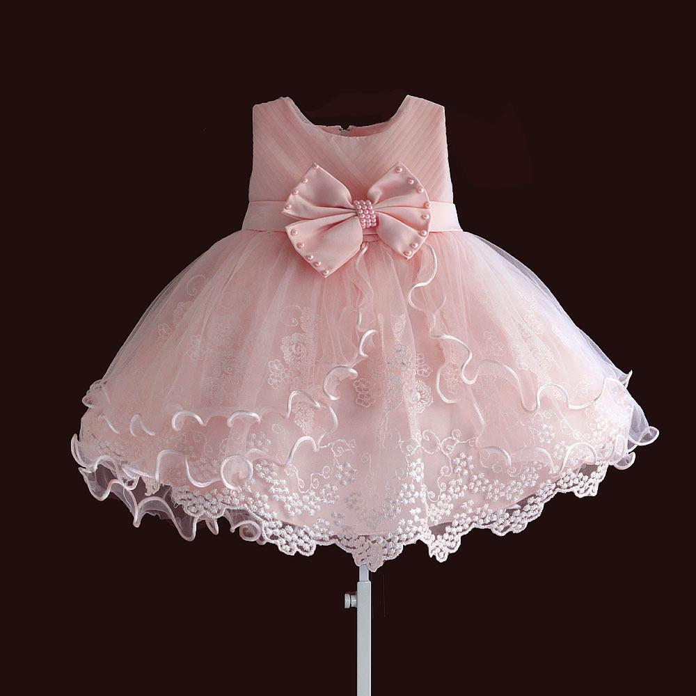 Baby Girls Princess Bowknot Hollow Pageant Party Wedding Lace Solid White Dress