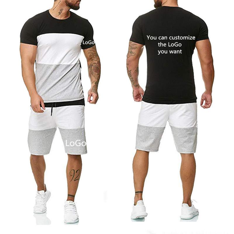 Men's Tracksuits Summer 2021 Three-piece T-shirt Casual Fashion Short-sleeved High-quality Cotton + Pants 2 Piece Suit
