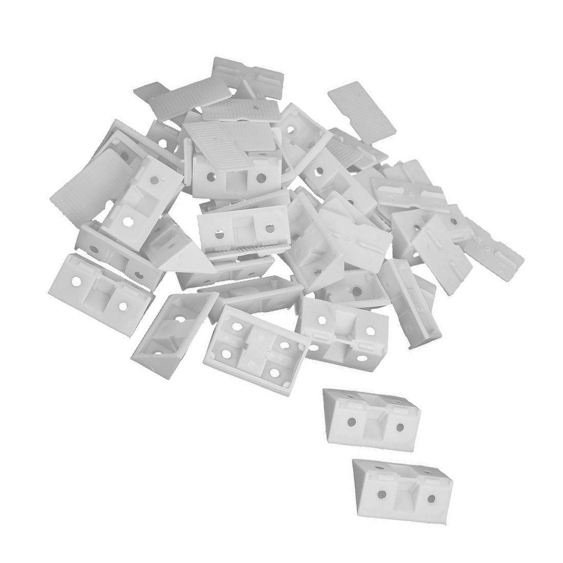 30pcs étagère armoire 90 degrés en plastique cornières supports d'angle blanc