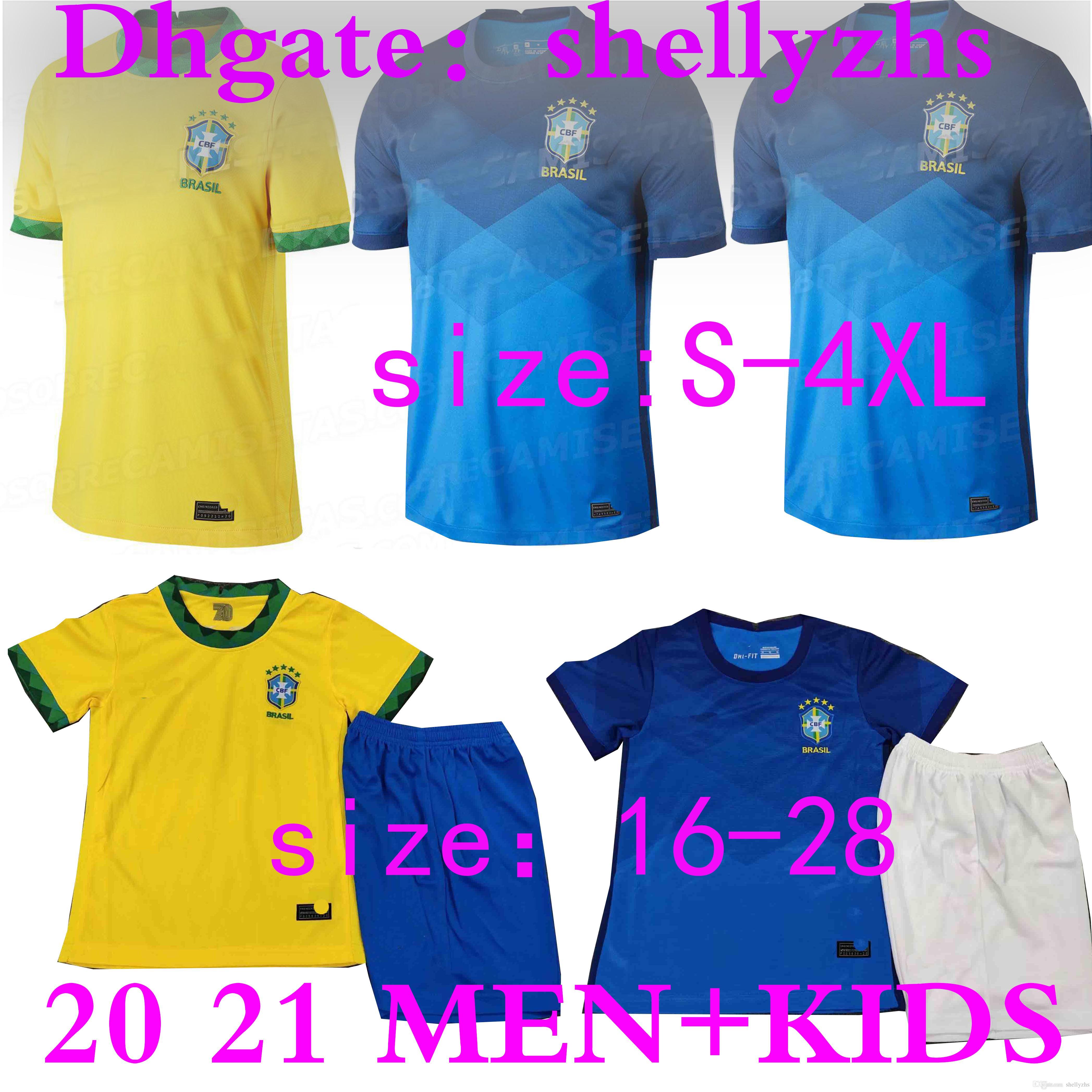 MEN + KIDS 2020 Brasil American Cup di calcio maglie Brasile giovinezza 20 21 JESUS COUTINHO MARCELO kit maglia dei ragazzi di calcio camisa Football Shirt