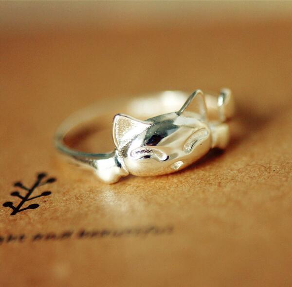 Оптовая продажа ювелирных изделий из стерлингового серебра s925 стерлингового серебра открытое кольцо милый кот ring169