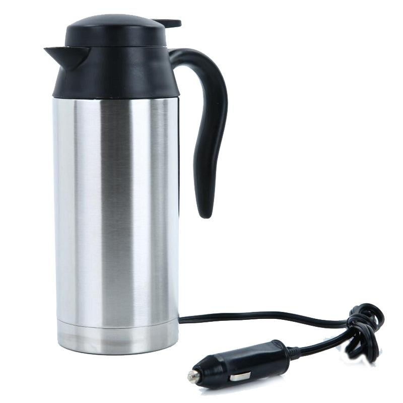 Agua viaje del acero inoxidable 12V Hervidor eléctrico 750ml montado en el coche de viaje Café Té climatizada Taza Motor caliente para el coche o el uso del carro
