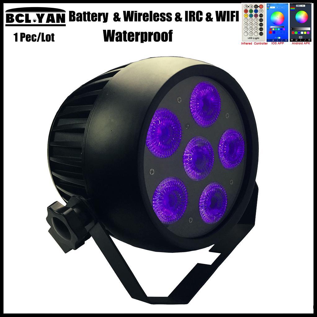 2018 outdoor IP65 Waterproof WIFI Smart Wireless DMX Battery LED Par Can 6 pcs 18w RGBWA UV DJ Stage Lighting