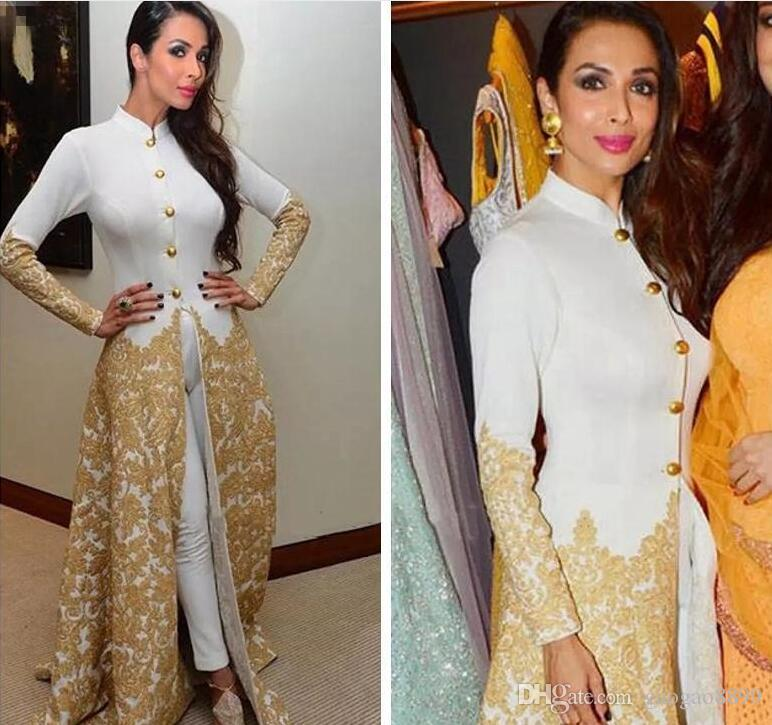 Saudi Evening Gowns Long Sleeves High Neck Caftan With Pants Gold Lace Appliques jumpsuit Malaika Arora Khan Arab Formal Prom Party Gowns