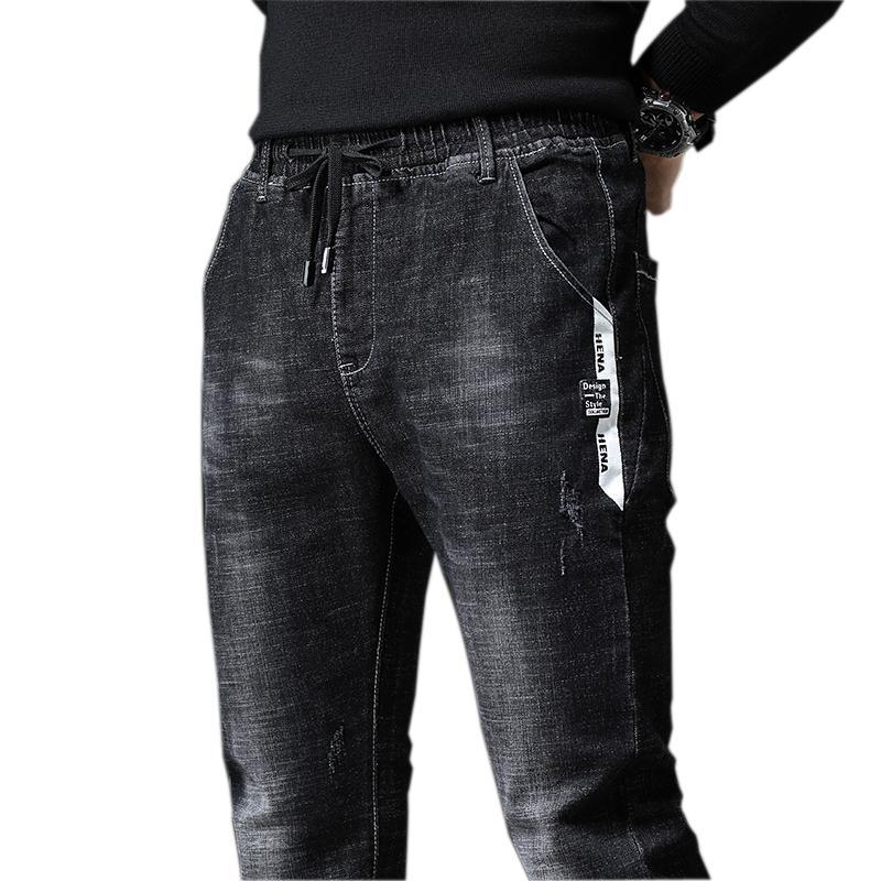 2019 nuovi Mens Jeans Smart Casual Jeans Regular Fit Gamba Fori Elasticità Lungo tratto Pantaloni neri elastico in vita