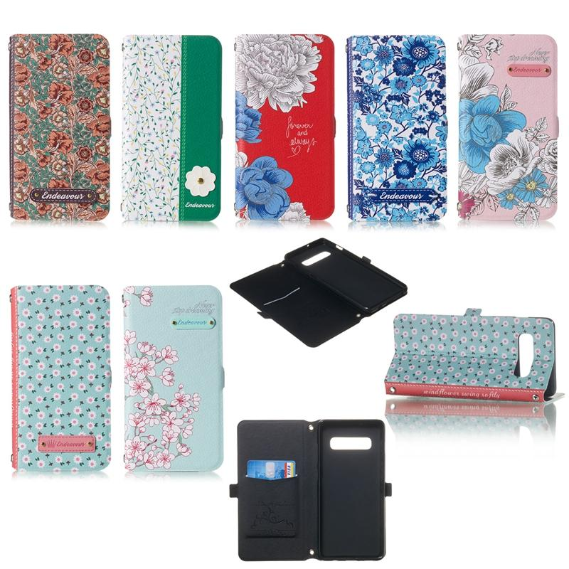 Leather Wallet Case For Samsung Galaxy A30 A40 A50 A70 A20E Stylish Floral ID Card Slot 3D Flower Flip Cover Stand Holder + Shoulder Strap