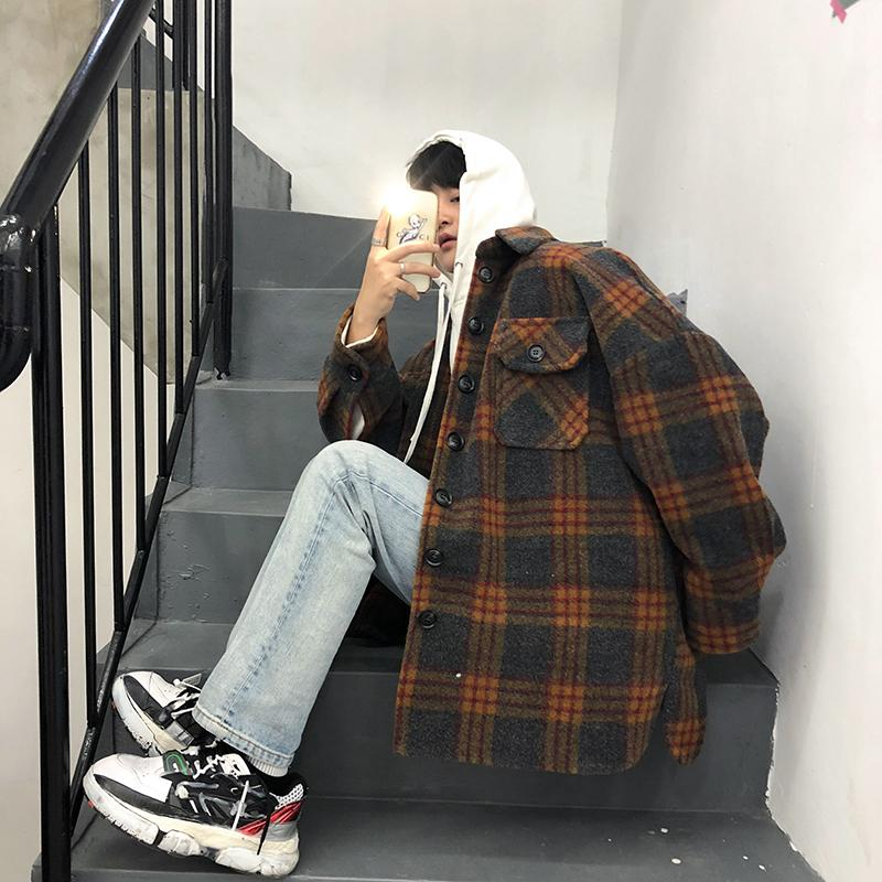 2019 새벽 한국 신사복 느슨한 옷깃 모직물 슈퍼 불 캐주얼 학생 격자 하라주쿠 거리 웜 재킷