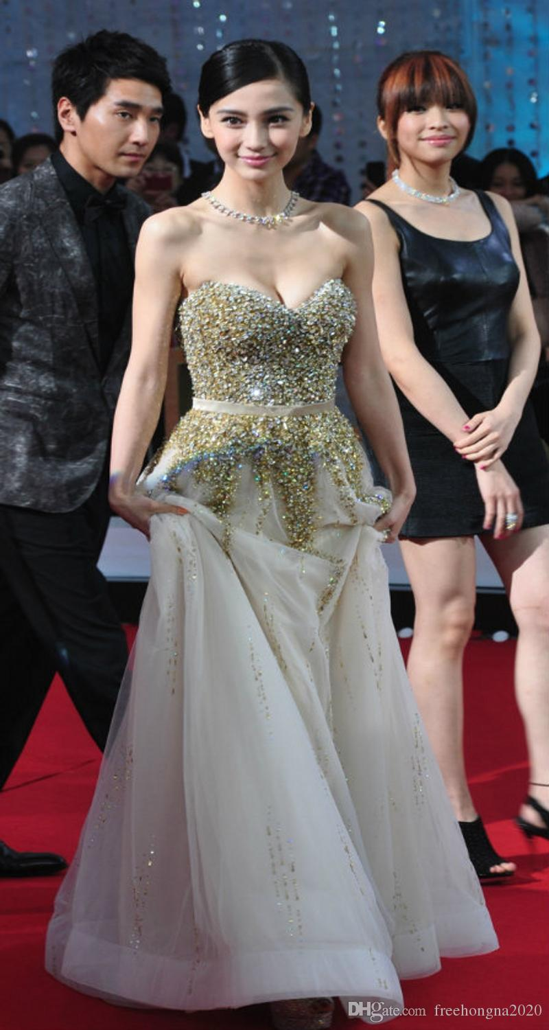Custom Made High Quality Star With Ball Prom Dresses Golden Champagne Sequined Diamond Top Long Party Tuxedo