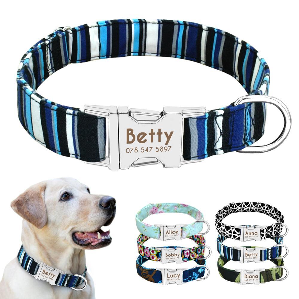 Hundehalsband aus Nylon personifizierte kundenspezifische Hundemarke Collar Gravierte Typenschild Haustier-Katze Antilost für Small Medium Large Hunde