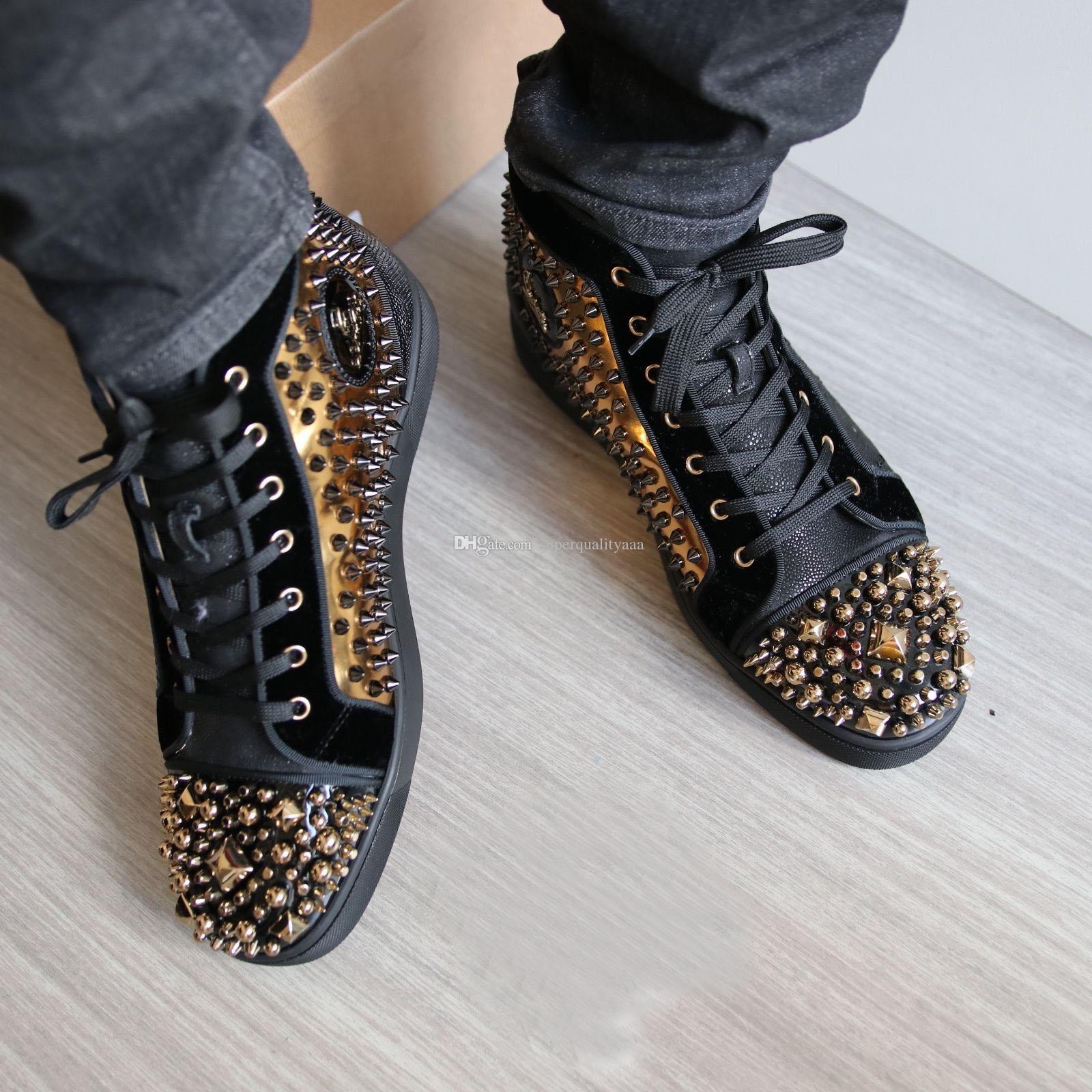 Yüksek Kalite Altın Erkekler Parti Düğün Ayakkabı Için Çivili Sneakers Ayakkabı, ünlü SpikesBeads Kırmızı Alt Sneaker Yüksek Üst Parti Tasarımcısı 35-47