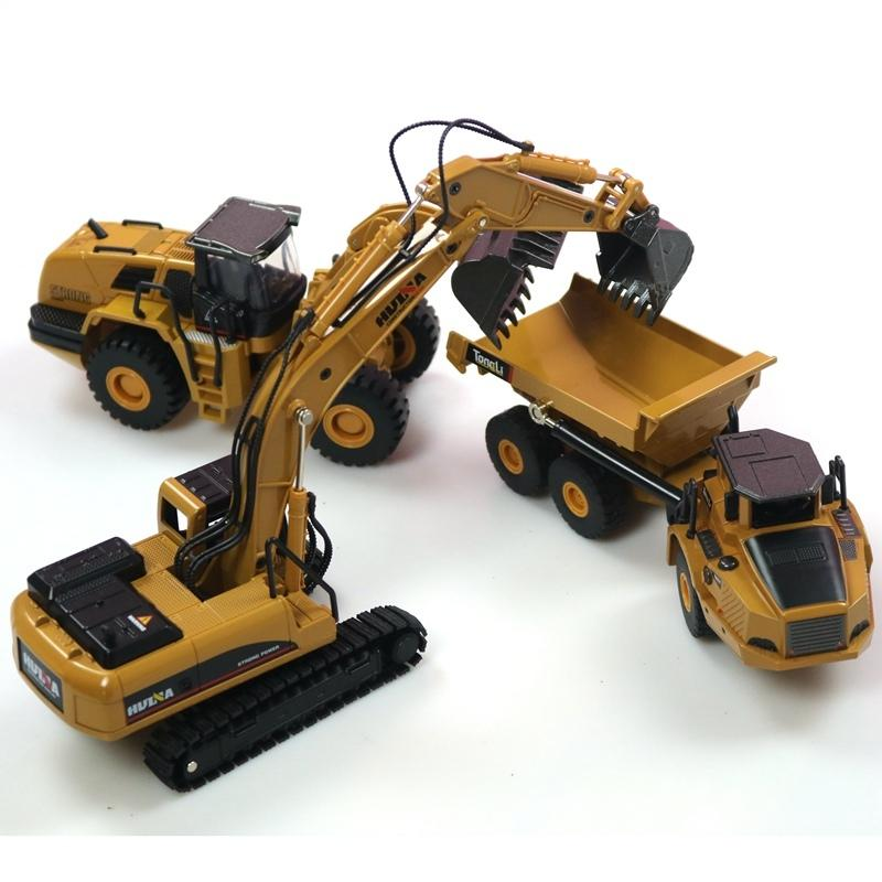 HUINA 1:50 dump truck excavator Wheel Loader Diecast Metal Model Construction Vehicle Toys for Boys Birthday Gift Car Collection S200114