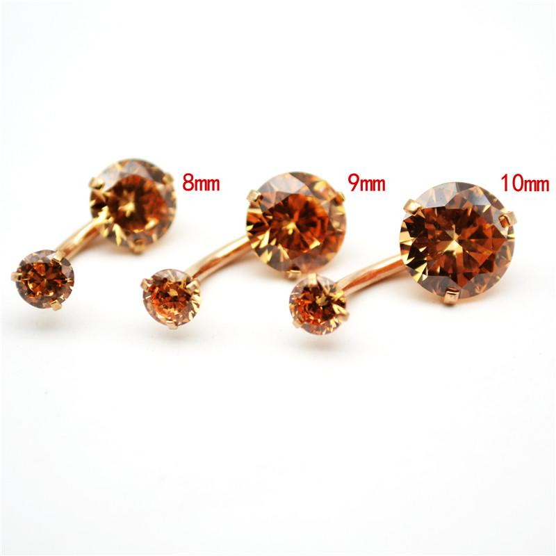 2020 Rose Gold Belly Bars Clear Cz Navel Bar Navel Button Rings