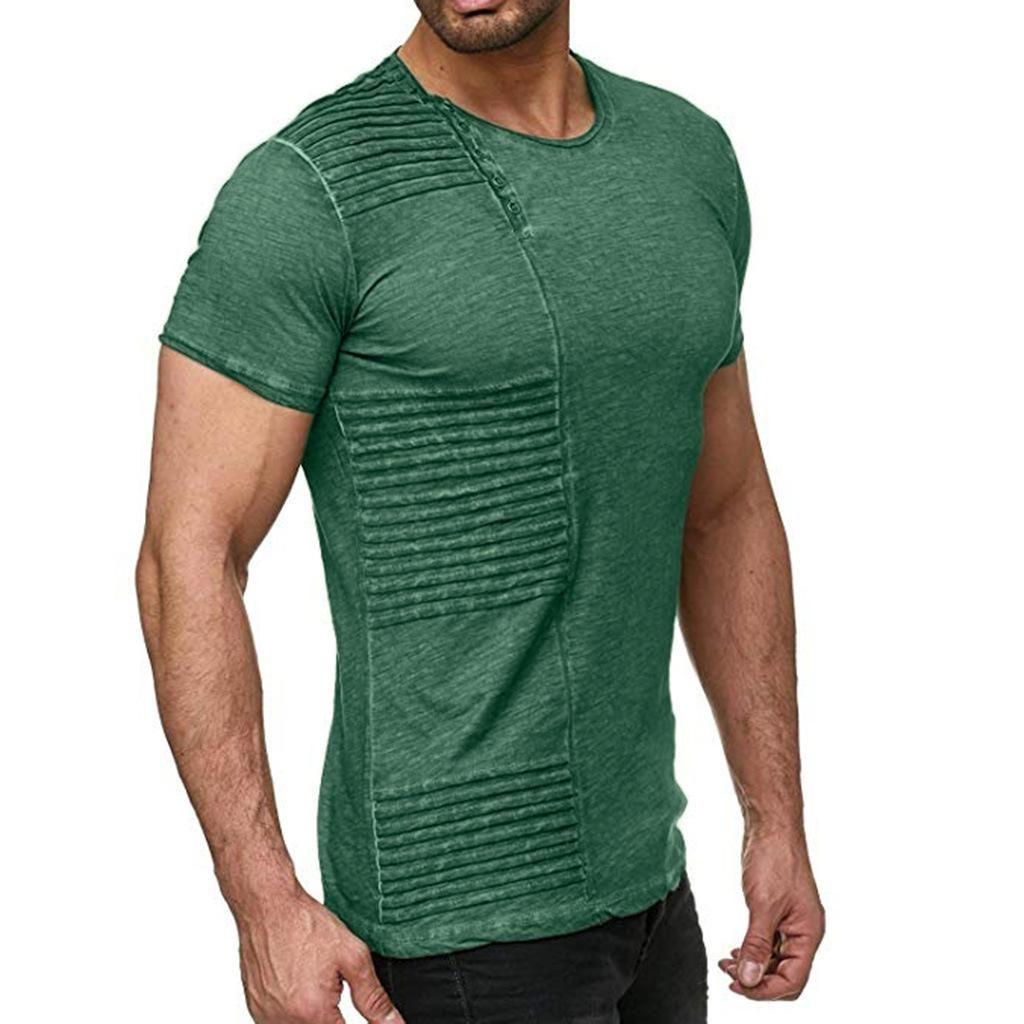 Button Crew Neck Short Sleeve Vintage Tops Men Casual Tees Fashion Designer Casual Pure Color Draped Mens Shirts Designer
