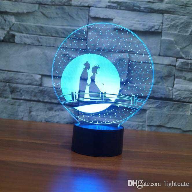 Couple Romance illusion 3D lampe tactile 7 couleurs USB Lampe de table de couchage pour bébé Cadeaux Party Supplies Veilleuse anniversaire d'enfants