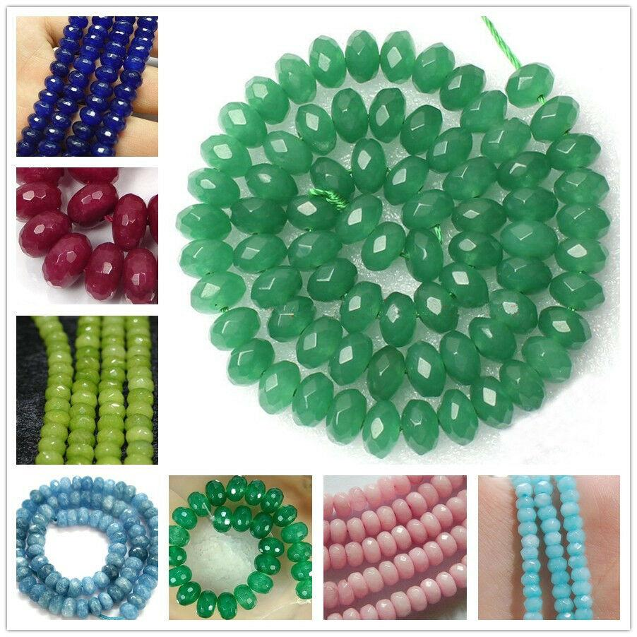 """5x8mm Natural Faceted Pink Jade Gemstone Abacus Making Jewelry Loose Beads 15/"""""""
