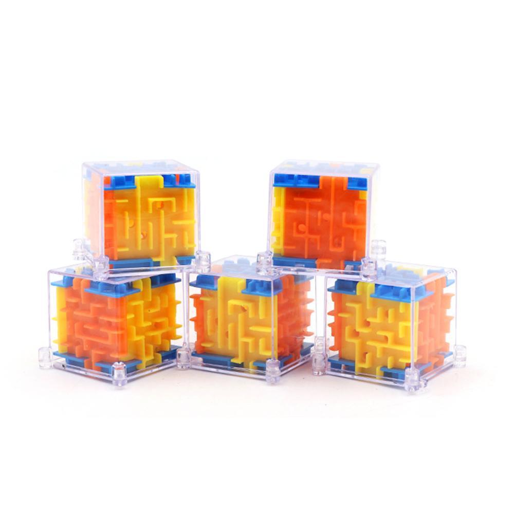 الأطفال 3d متاهة المكعب السحري الكرة متاهة لغز لعب الأطفال التعليمية لغز مجموعة 1 قطعة 4 * 4 سنتيمتر (لون عشوائي)
