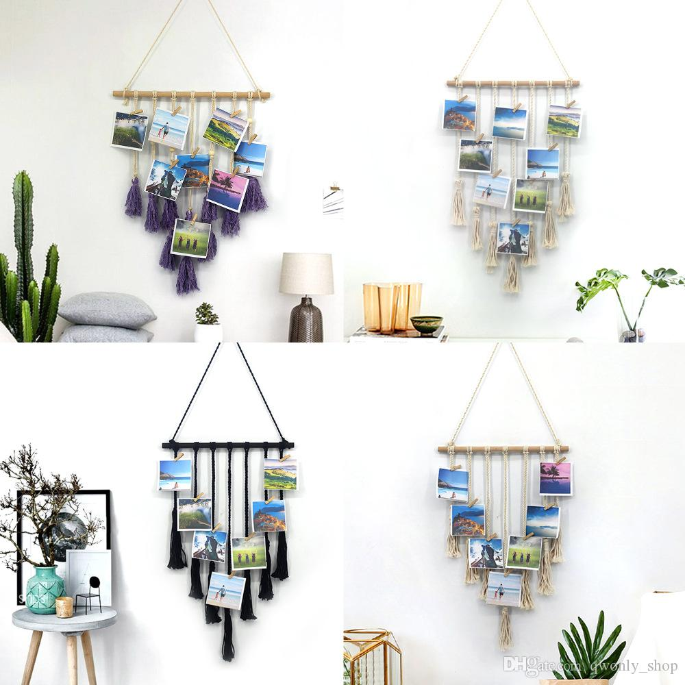 Handmade Knitting Tapestry Photo Wall Hanging Bohemian Macrame Picture Frame Mandala Tapestry Boho Home Decor Gift Wedding Party Decoration