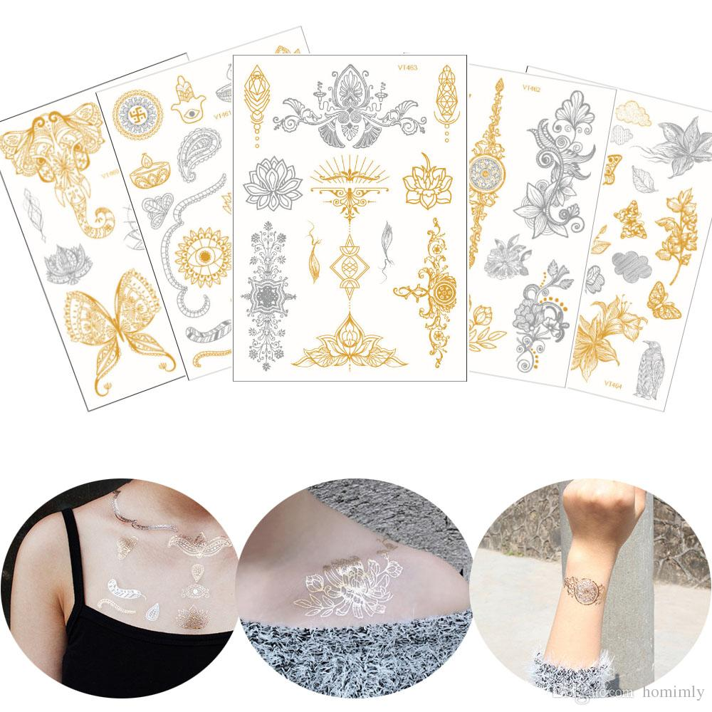 Flash Gold Metallic Tattoo Silver Datura Henna Flower Designs Waterproof Temporary Chest Shoulder Arm Body Art Tattoo Stickers Western Style