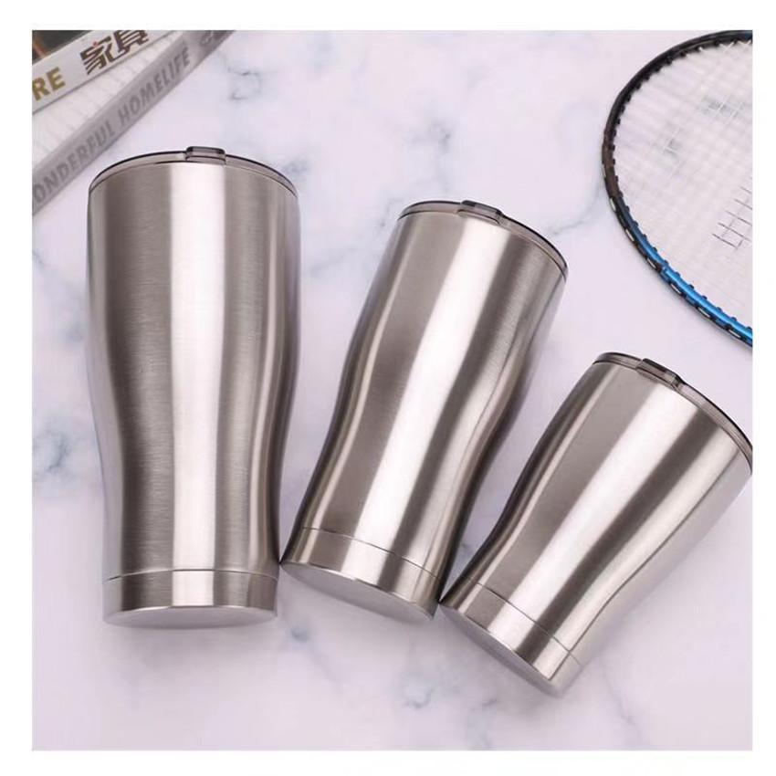 20 oz 30 oz Curve Tumbler Cup Cooler en acier inoxydable isolé courbant Gobelets avec couvercle étanche Glissé double paroi vide courbé Tasse d'argent 8