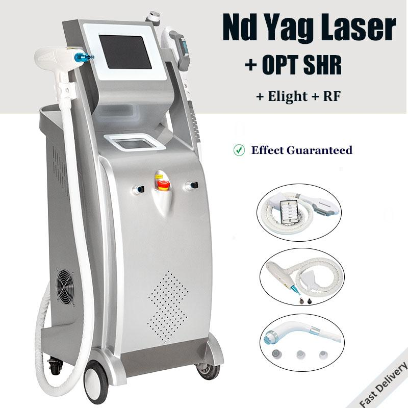 Multi-functional Nd yag laser tattoo removal eyebrow Pigmentation Removal machine Nd Yag Elight IPL OPT fast hair removal laser machines