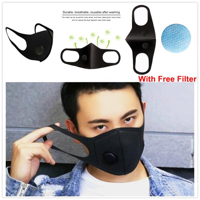 Double valve 10 cps-Masque Visage Filtres PM2,5 Course à pied Cyclisme Activités de plein air charbon actif poussière Respiratoire Anti allergie au pollen F3454