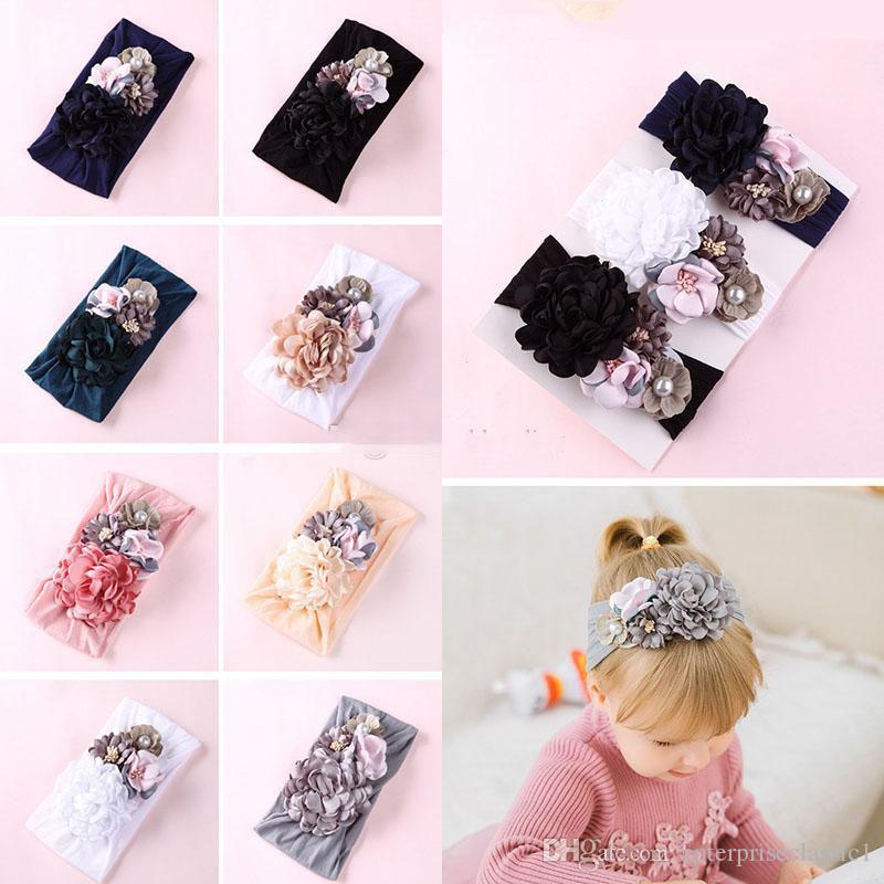 8 Farbe weichen Nylon Stirnbänder Seide Nähen Blume Kopfschmuck niedliche Prinzessin Haarband Baby Mädchen Haarschmuck